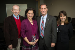 (Left to Right) Dr. Glen Hanson, Dr. Rena D'Souza, Rep. Stewart and Dr. Olga Baker